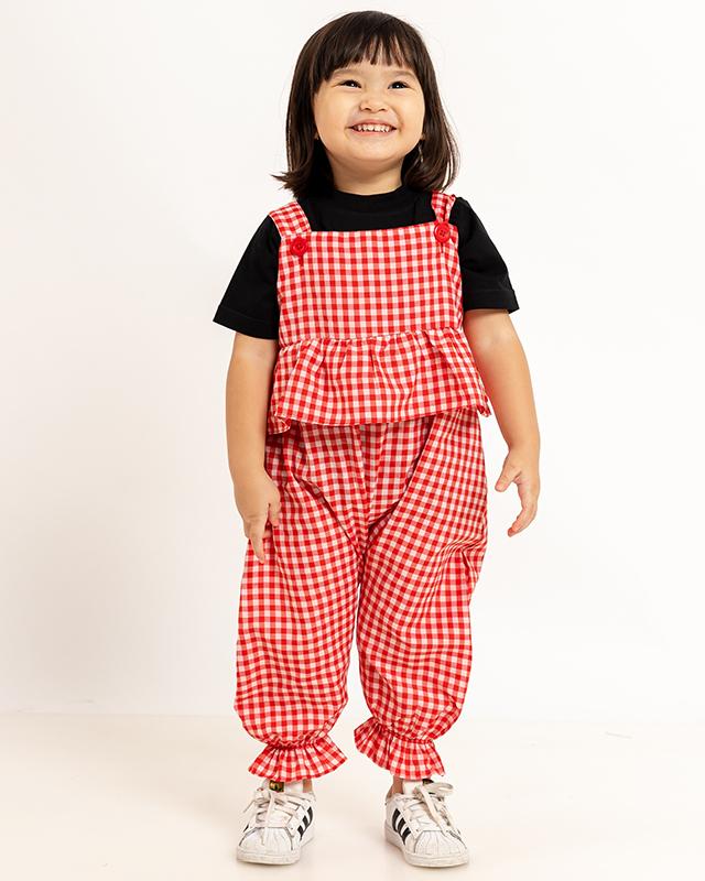 Mini Ruffle Maxi Jumpsuit Checkered Red