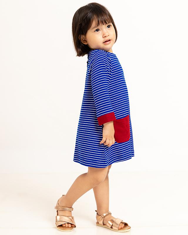 A Line Pocket Dress Stripe Navy