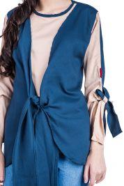 Blue Cream Tie Up Blouse 303-prd_14112028712200_1496952856.jpg