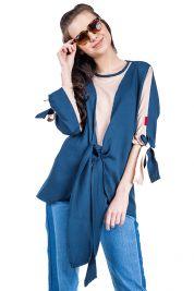 Blue Cream Tie Up Blouse 303-prd_14112087522500_1496952855.jpg
