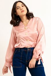 Button Tie Up Sleeve Blouse Pink-prd_18062059747500_1573470901.jpg