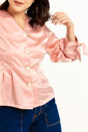Button Tie Up Sleeve Blouse Pink-prd_18062066661700_1573470899.jpg