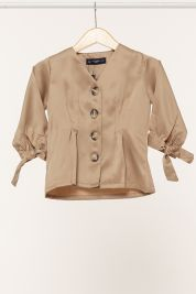 Mini Button Tie Up Sleeve Blouse Brown-prd_18064035728200_1565964874.jpg
