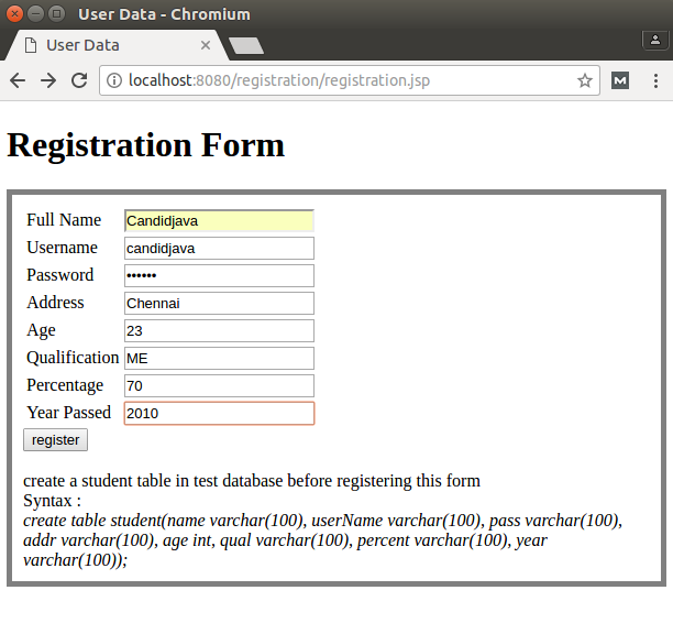 Registration form in jsp with database connectivity