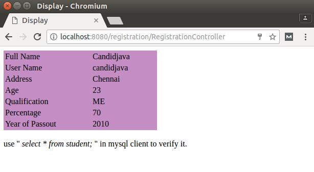 jsp servlet registration form source code