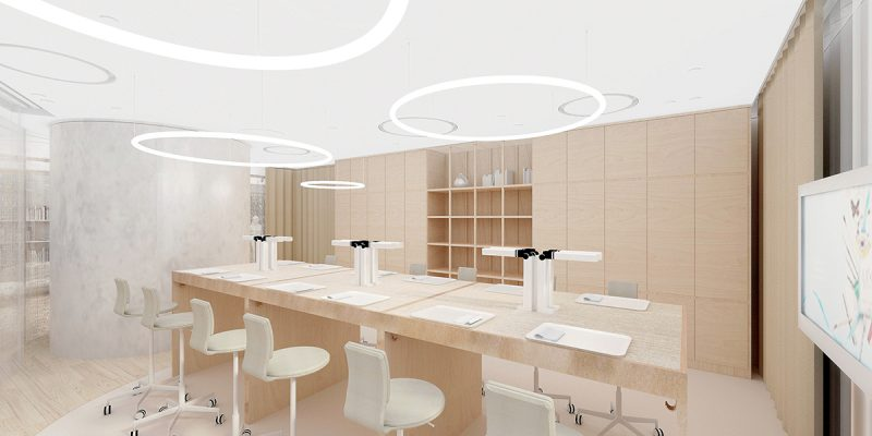 校舍由日本著名建築師藤本壯介 (Sou Fujimoto) 設計,運用各種幾何形狀與空間內自然光線的互相交織,精心構想了極具現代感的氛圍。學院將佔地兩層,設有教室、舉行工作坊和展覽的空間,還有一個專屬圖書館。