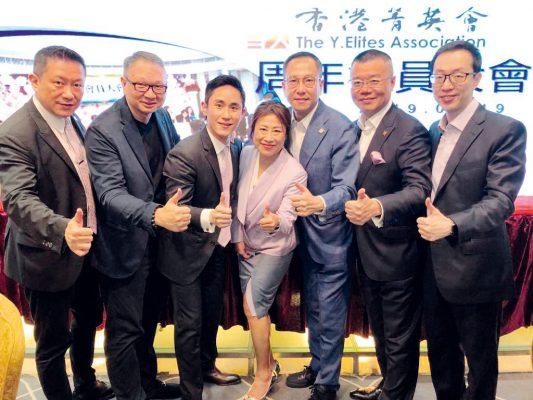曾鳳珠(中)與歷屆香港菁英會主席合作無間。