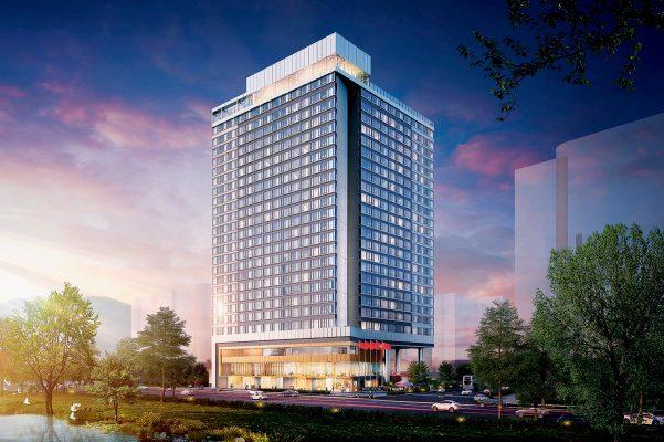 """酒店外形以""""V""""字為基本建構,就像打開了的翅膀。"""