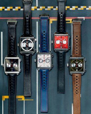 (由右至左) Monaco 1969–1979限量版腕錶 綠色錶盤配日內瓦條紋飾面及黑色鍍金小錶盤,指針和時標以棕色和黃色點綴,搭配棕色小牛皮錶帶,五月於Formula 1摩納哥大獎賽期間發表。 Monaco 1979–1989限量版腕錶 紅色錶盤配太陽放射紋裝飾,精緻磨砂鍍銠計時小錶盤、拋光琢面時標、指針及時標以黑白色裝飾,配黑色小牛皮錶帶,六月在法國勒芒24小時耐力賽期間發佈。 Monaco 1989-1999限量版腕錶 灰色粒面鍍銠錶盤,藍色噴砂鍍銠計時器,指針和刻度上飾有紅色元素,配藍色小牛皮錶帶,七月時在紐約發表。 Monaco 1999–2009 限量版腕錶 以黑白色為主調,白色蛋白石小秒盤及分鐘計時盤在黑色背景之上份外奪目。而小時刻度、時針及分針以明亮的紅色及橙色裝飾,配穿孔黑色小牛皮錶帶,九月下旬在日本東京發表。 Monaco 2009–2019限量版腕錶 放射太陽紋深灰錶盤點綴黑色鍍金時標,小錶盤指針、中央秒針及錶盤12時位置的時標皆採用大膽的紅色,配黑色小牛皮錶帶,十月底於上海壓軸現身。