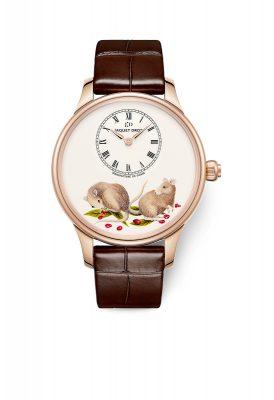 Jaquet Droz Petite Heure Minute 39毫米鼠年限量紅金腕錶