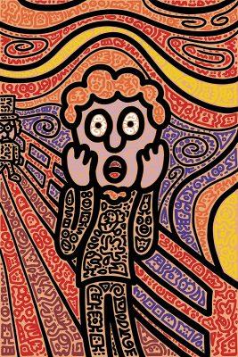 """Mr.Doodle 笑言,這幅名為""""Mr. Doodle Screaming""""的塗鴉作,是個人的自畫像。"""