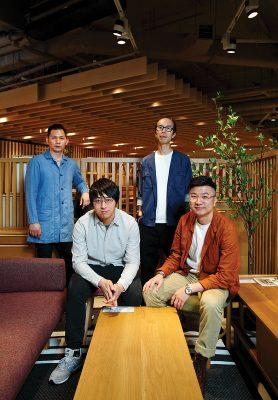 (左至右 )Cannie、Derek、Jason及Sean:四人合作「夾band」十多年,早已培養出深厚默契,並一同嘗試開辦ALOT 時尚傢俱店。