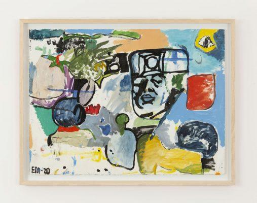 艾迪·馬丁內斯 《無題》, 2020 紙、油畫、丙烯、水彩 連框:65 x 84 x 4.5 公分 | 25 9/16 x 33 1/16 x 1 3/4 英吋 攝影:Ringo Cheung © Eddie Martinez; 圖片提供:藝術家與貝浩登