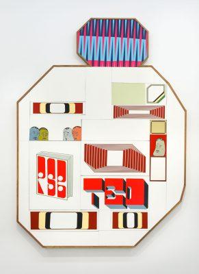貝瑞·麥吉 《無題》, 2020 木板、丙烯、水粉;23個元素 198.2 x 146.1 x 4.5 公分 | 78 1/16 x 57 1/2 x 1 ¾ 英吋 攝影:Maiko Miyagawa © Barry McGee; 圖片提供:藝術家、貝浩登與Ratio 3, San Francisco