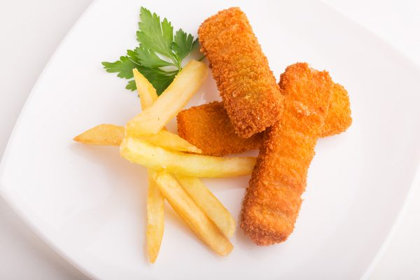 Fish sticks and french fries on the plate