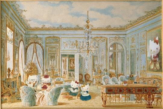 Le Salon de l'Impératrice Eugénie à Saint-Cloud avec la Reine Victoria et le prince Albert 歐仁妮皇后的沙龍:是一幅特別的畫作,由尚.巴提斯.傅尼耶所創作。1855年英國維多利亞女王和阿爾伯特親王,接受法國拿破崙三世邀請訪問法國,下榻於巴黎西邊的聖克勞德城堡。畫中可見室內家具等均以法國皇家品味佈置,左下方可見到阿爾伯特親王閱讀報紙,女王正在觀覽拿破崙三世的肖像,點出畫作的緣由。 是次創作和諧地加入了Hello Kitty一家與阿爾伯特親王及女王共享下午茶的快樂時光。牆上的Hello Kitty肖像畫展現出Kitty優雅的姿態。