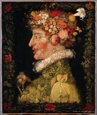 Le Printemps春天 Giuseppe Arcimboldo:原作由大師朱塞普.阿爾欽博托創作,阿爾欽博托用高妙的古典繪畫功力,描繪組合精細寫實的花朵、蔬果、各種動植物或無機物創作了具有驚人想像力的肖像畫。 與另一幅Dear Daniel配對,可找找畫中的Hello Kitty以及好朋友們藏身的身影。