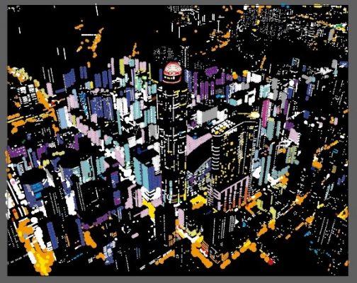 展出地點:4樓通天電梯旁。以鳥瞰的角度,凸顯朗豪坊辦公大樓非常具代表性的發光圓頂、旺角區大廈玻璃外牆上霓虹燈的倒影及區內多條繁忙道路上的燈光,拼貼出香港旺角密集而繁華的特色,希望讓市民以另一個角度欣賞這個不夜天。