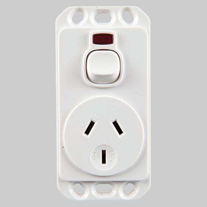Meditek   OB Series - Vertical Socket Outlet Panel Mount Switched 15 ...