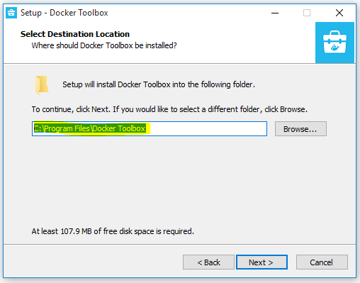 Docker - Installation in default drive