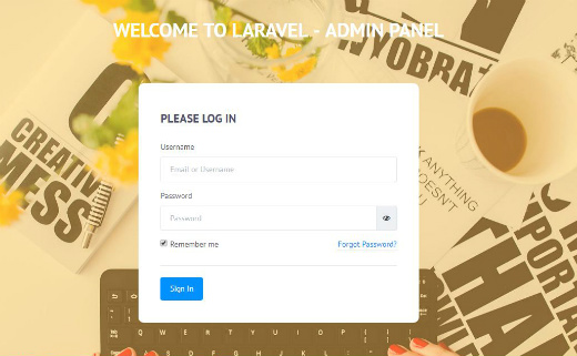 Login - Desktop Version - Laravel Admin Template