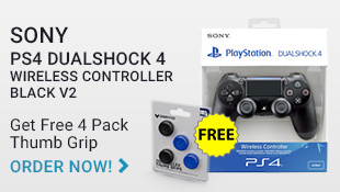 PS4 Black Controller with Free Thumb Grip