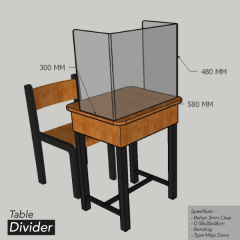 Acrylic Table Divider Pembatas Meja Siswa Portable Clear