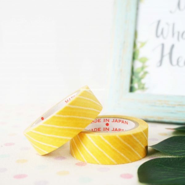 W1435 Yellow with Lines Japan Washi / Masking tape