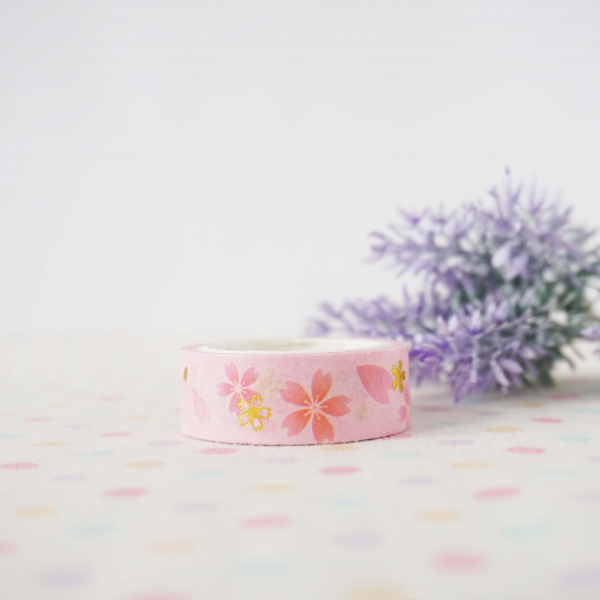WT0046 Sakura gold foil 15mm x 3m Washi / Masking tape