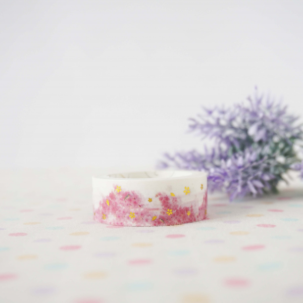 WT0047 Sakura 2 gold foil 15mm x 3m Washi / Masking tape