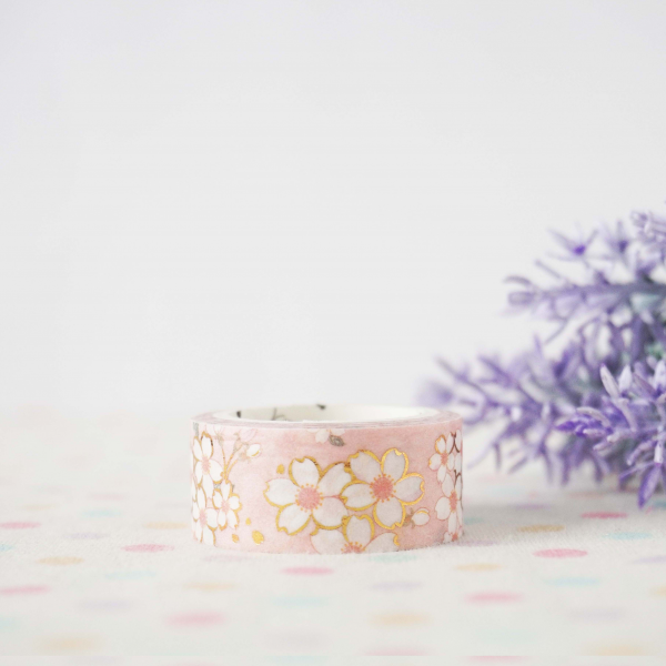 WT0070 15mm x 3m Washi / Masking tape (Gold Foil)