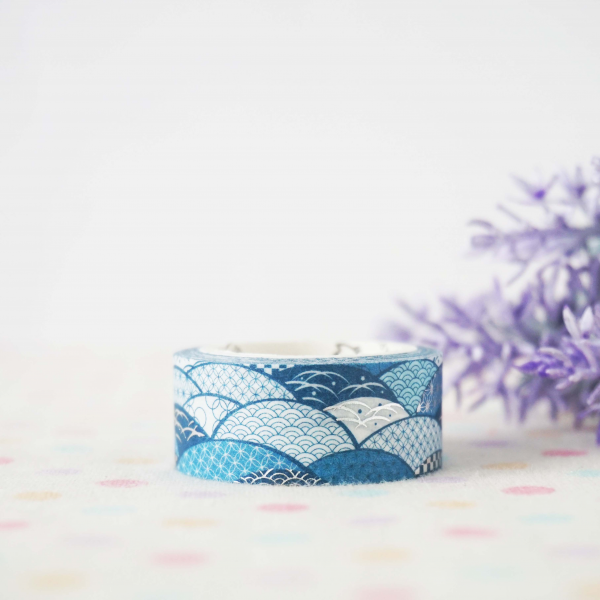 WT0073 15mm x 3m Washi / Masking tape (Silver Foil)