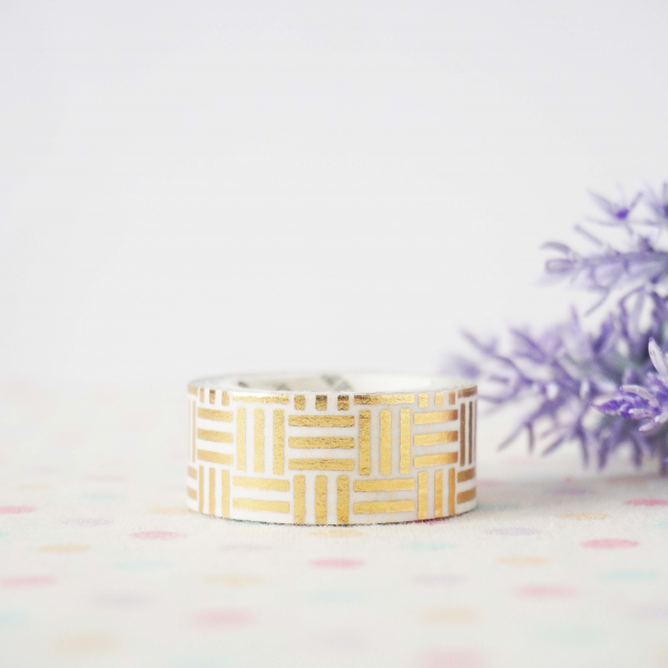 WT0075 15mm x 3m Washi / Masking tape (Gold Foil)