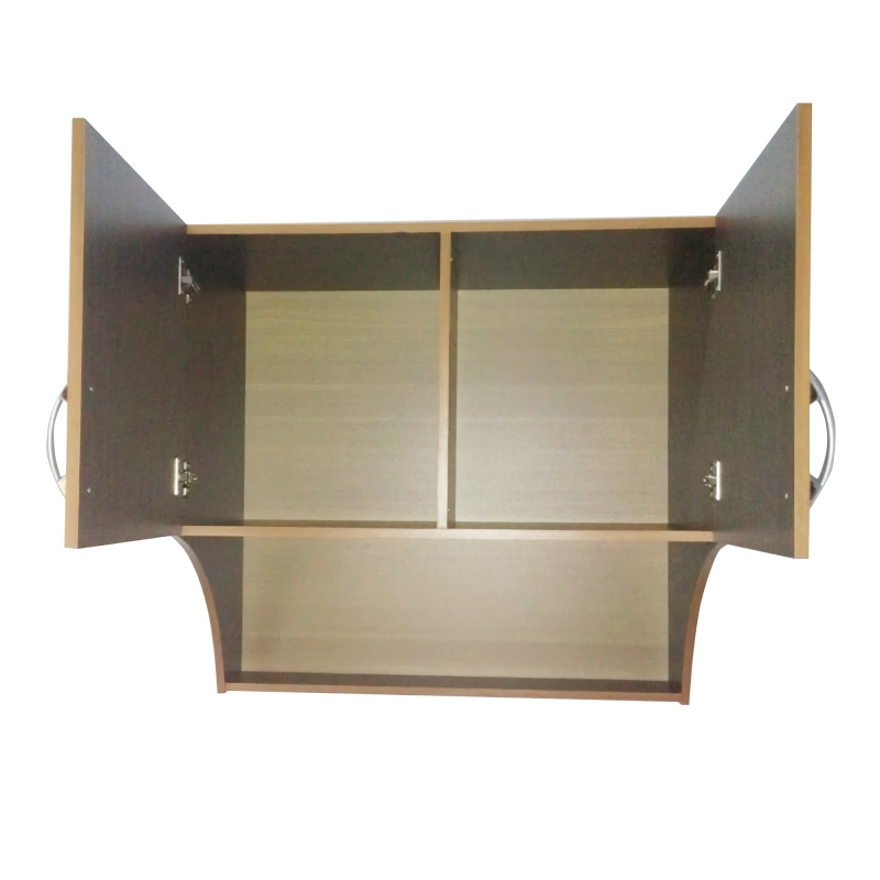 Lemari Dapur Atas 2 Pintu Bahan Plywood - Dark Natural Serat Kayu