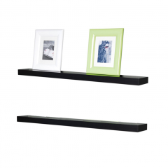Floating Shelves - 2 Pcs Rak Dinding Minimalis 60x10x3.5cm - Hitam
