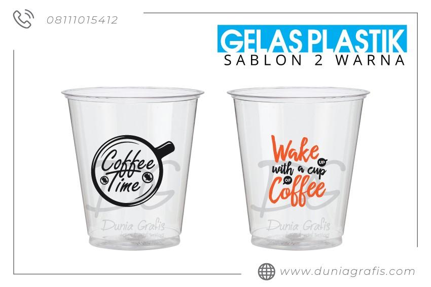 Gelas Plastik Sablon 2 Warna di Jakarta