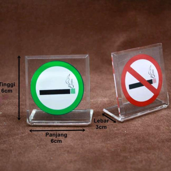 Acrylic Sign No Smoking Area 6cm