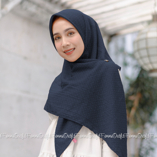 Aletty Shawl Square Deep Navy Blue
