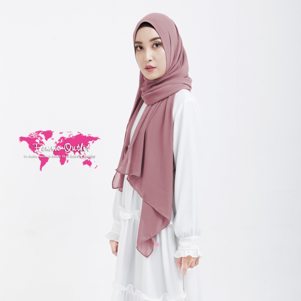 Plain Chiffon Shawl Pashmina Deep Dusty Pink