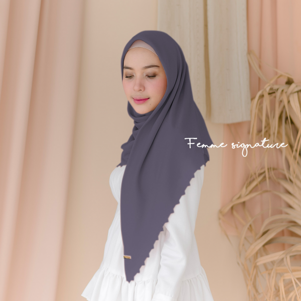 Aisyah Shawl Square Grape Grey