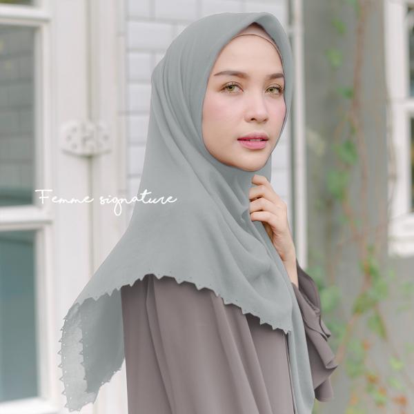 Aisyah Shawl Square Ice Grey