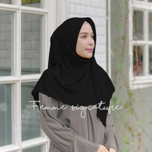 Khadijah Shawl Square Black