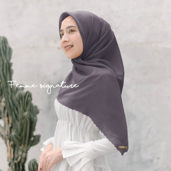 Fatimah Shawl Square Grape Grey