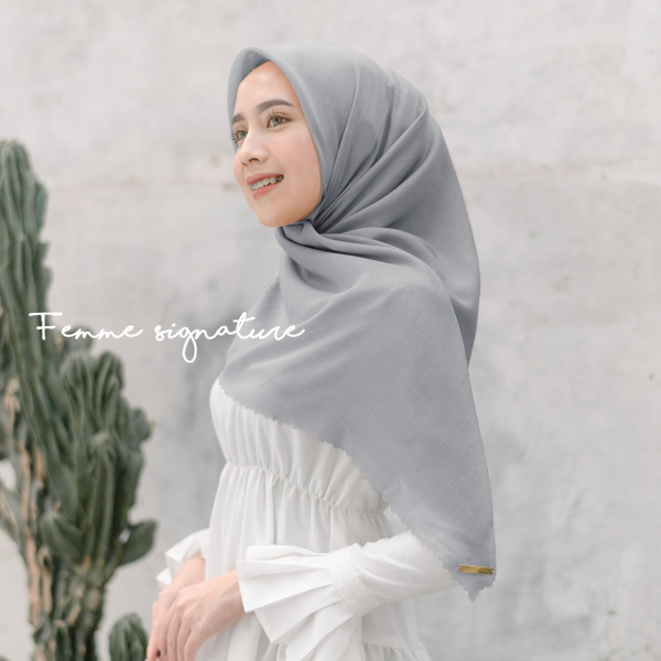 Fatimah Shawl Square Mineral Grey