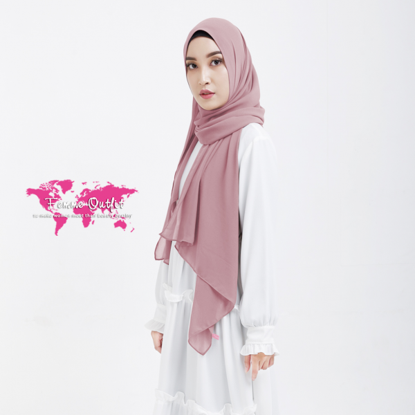 Plain Chiffon Shawl Pashmina Light Dusty Pink