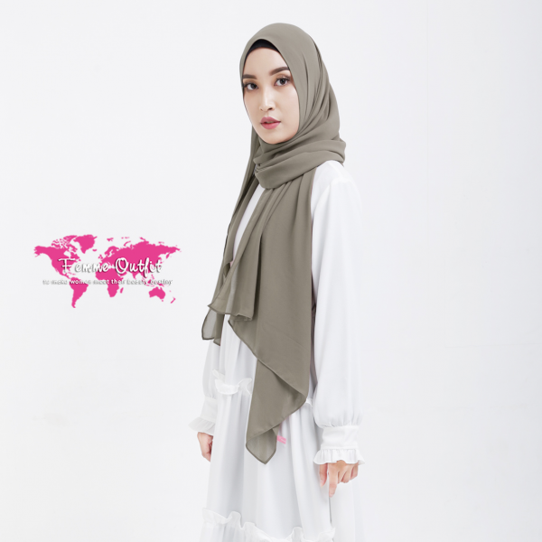 Plain Chiffon Shawl Pashmina Light Khaki