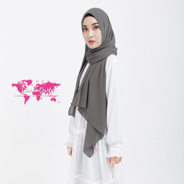 Plain Chiffon Shawl Pashmina Grey