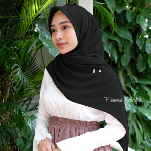 Ghania Shawl Square Black