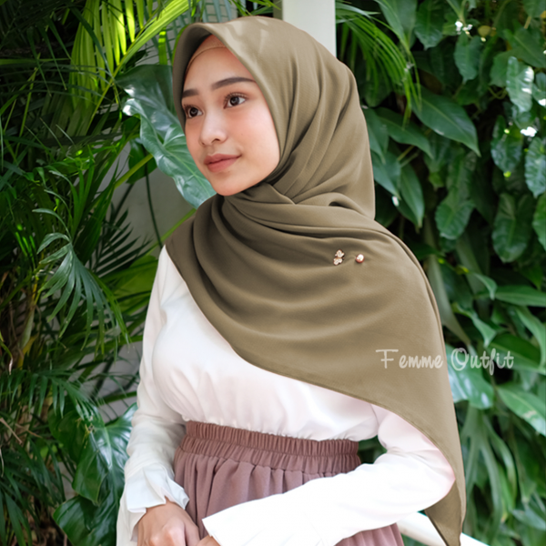 Ghania Shawl Square Deep Olive Green
