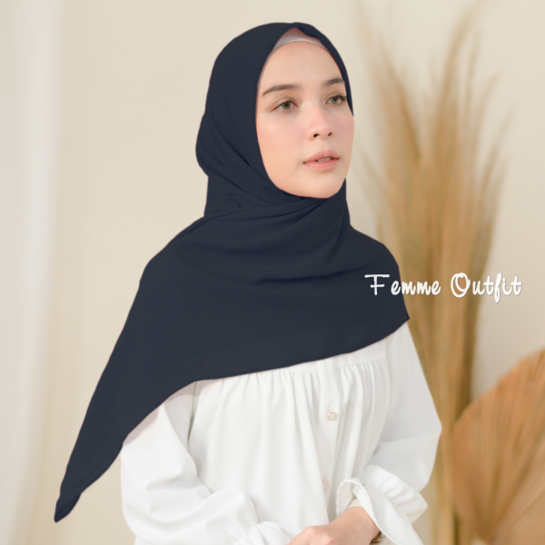 Fristy Shawl Square Navy Blue